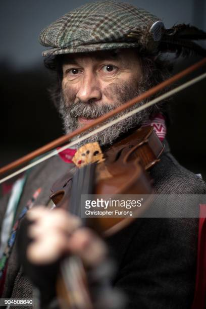 Fiddle player Dave Wolfe of Bighty Morris poses during the annual Whittlesea Straw Bear Festival parade on January 13 2018 in Whittlesey United...