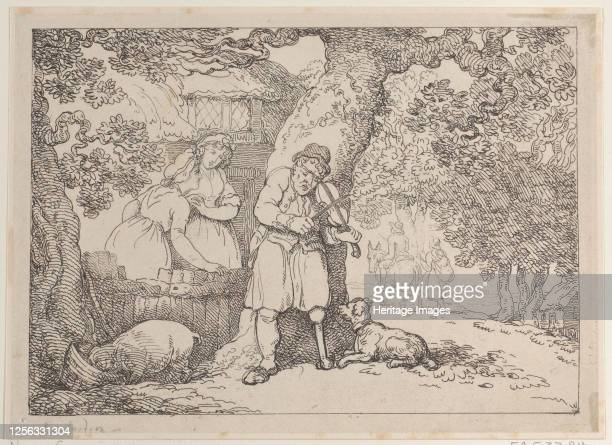 Fiddler, Sailor, Two Women and a Pig by a Cottage, 1816. Artist Thomas Rowlandson.
