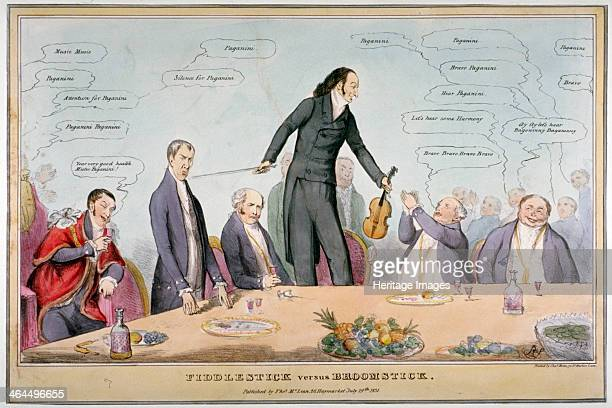 'Fiddlestick versus broomstick' 1831 Paganini standing on a chair with a fiddle in one hand and bow in the other Around the table sit John Key Henry...
