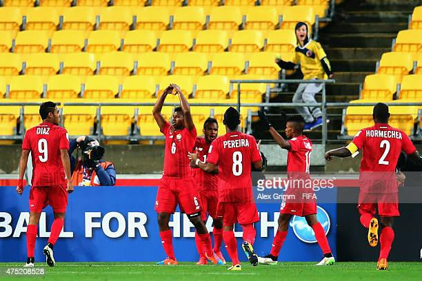 Fidel Ascobar of Panama celebrates his team's second goal with team mates during the FIFA U20 World Cup New Zealand 2015 Group B match between...