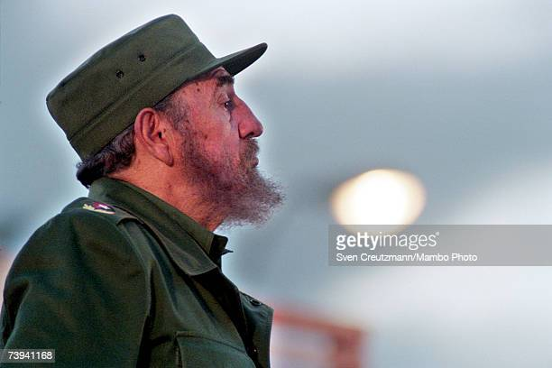 Fidel Castro addresses the crowd July 26 1999 celebrating the 46th anniversary of the Moncada assault led by Fidel Castro on July 26 1953