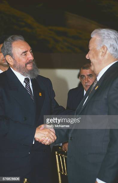 Fidel Castro and Boris Yeltsin Shaking Hands