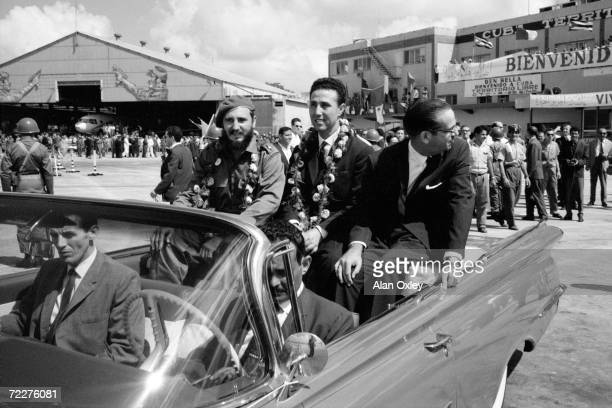 Fidel Castro and Cuban President Osvaldo Dorticos give a big welcome to Ahmed Ben Bella first Premier of the newlyindependent Algeria at Jose Marti...