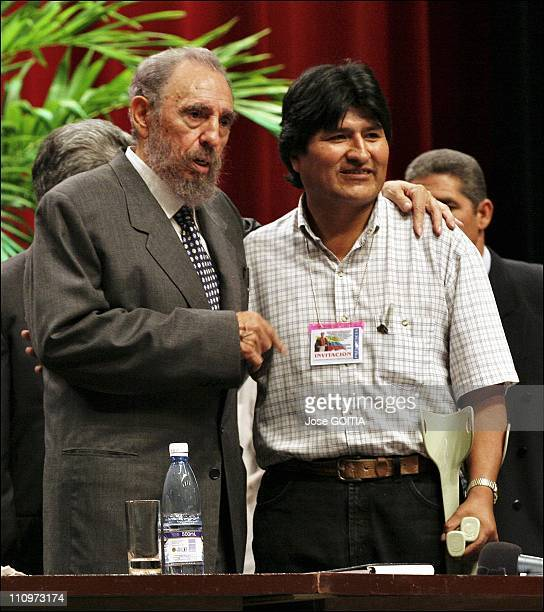 Fidel Castro and Evo Morales leftist leader of Boliva pose for a photo at the end of a meeting against the ALCA in Havana Cuba on December 14th 2005