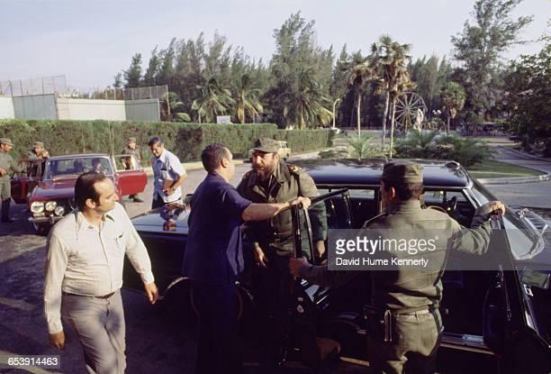 Fidel Castro arrives at an event circa 1981 in Havana Cuba