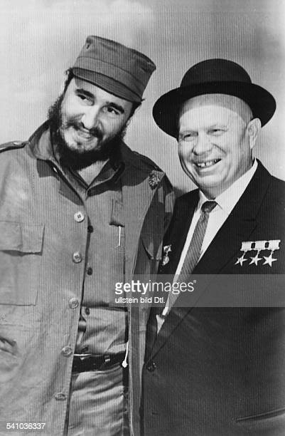 CASTRO AND KHRUSHCHEV Fidel Castro Cuban revolutionary and head of state photographed with Soviet politician Nikita Khrushchev 1959