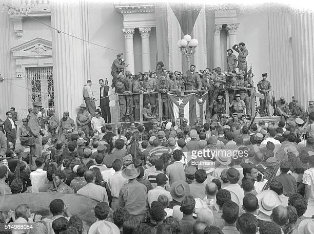 Fidel Castro delivers a speech here in a flagdraped hall during the March to Havana ceremonies