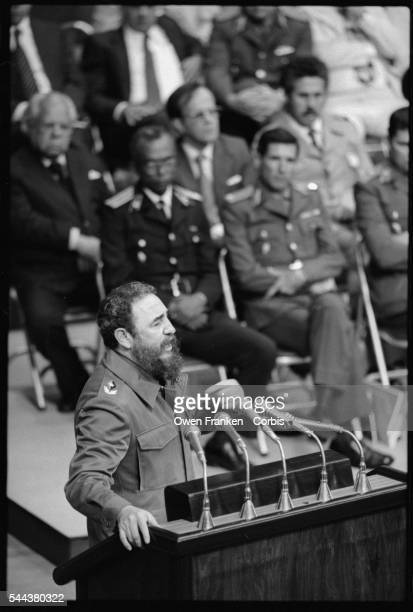 Fidel Castro delivers a speech on the 20th anniversary of the Bay of Pigs Invasion