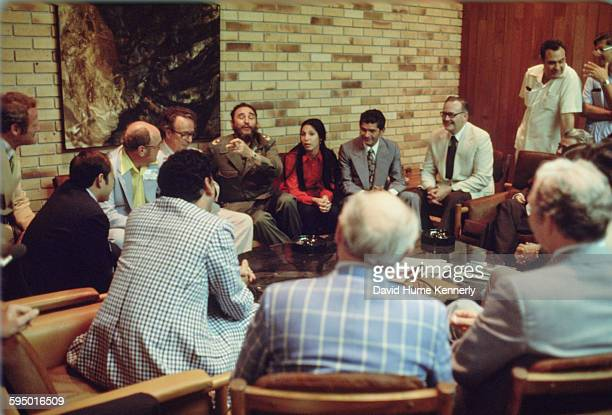 Fidel Castro discusses with guests at an event in Havana Cuba 1977