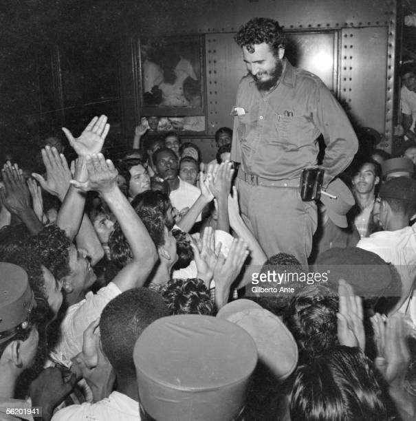 Fidel Castro is acclaimed by a group of young people Cuba circa 1960