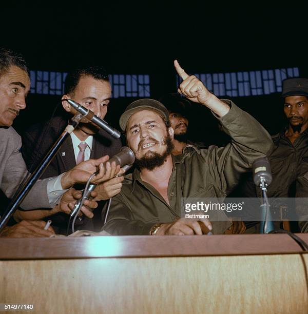 Fidel Castro leader of Cuban rebel forces shown here speaking