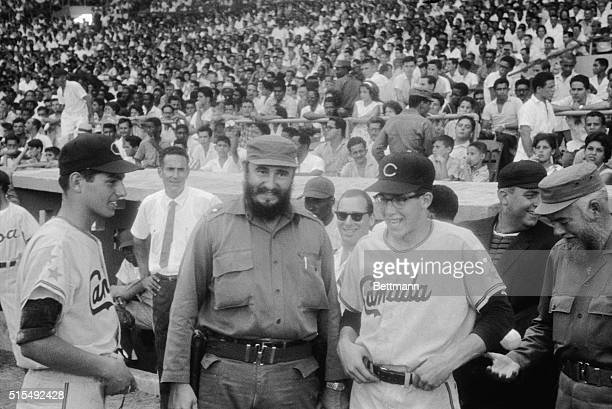 Fidel Castro pays a visit to the ball park before the start of the World's Junior Baseball Series featuring teams from Cuba and Canada The Cuban...