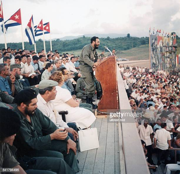 Fidel Castro Revolutionary Politician Cuba* adressing on the occasion of the anniversary of the revolution in Santiago de Cuba at the first row...