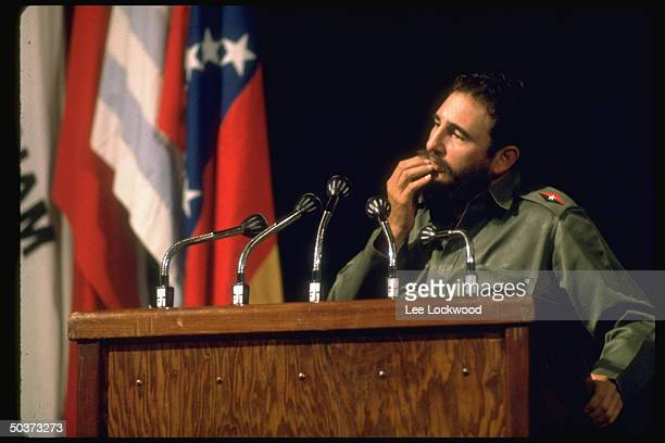 Fidel Castro speaking at first congress of the Havanabased Organization of Latin American Solidarity