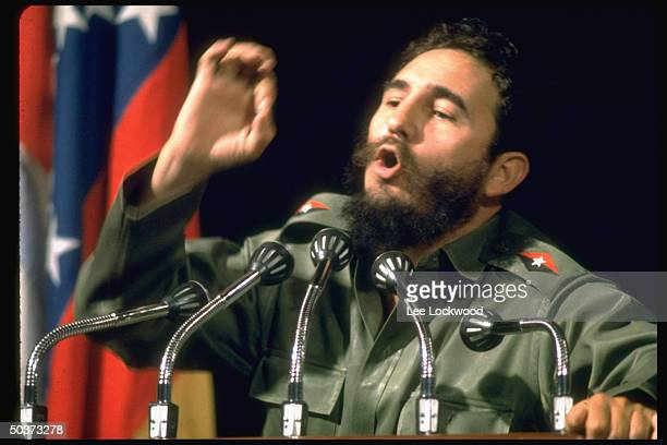 Fidel Castro speaking w characteristic animation at first congress of the Havanabased Organization of Latin American Solidarity