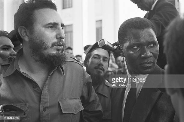 Fidel Castro takes the president of the Republic of Guinea Ahmed Sekou Toure on a tour of the University of Havana during an official visit to Cuba...