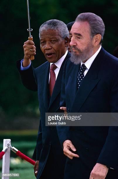 Fidel Castro visiting South African President Nelson Mandela Former President of South Africa and longtime political prisoner Nelson Mandela was held...