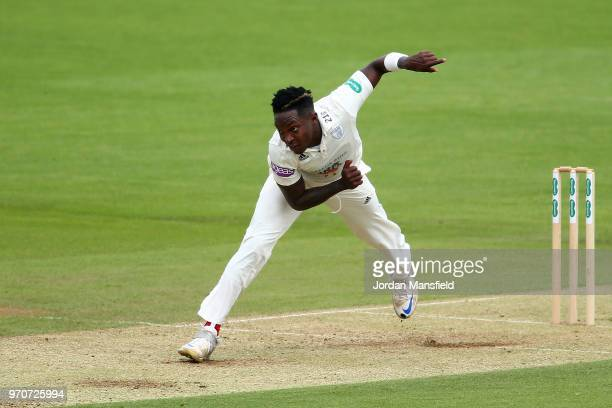 Fidel Edwards of Hampshire bowls during the Specsavers County Championship Division One match between Hampshire and Surrey at Ageas Bowl on June 10...