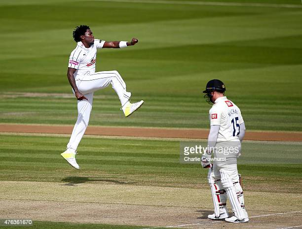 Fidel Edwards of Hampshire celebrates after taking the wicket of Matthew Machan of Sussex during day two of the LV County Championship match between...