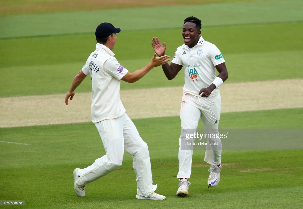 Fidel Edwards of Hampshire celebrates dismissing Ben Foakes of Surrey during the Specsavers County Championship Division One match between Hampshire and Surrey at Ageas Bowl on June 10, 2018 in Southampton, England.