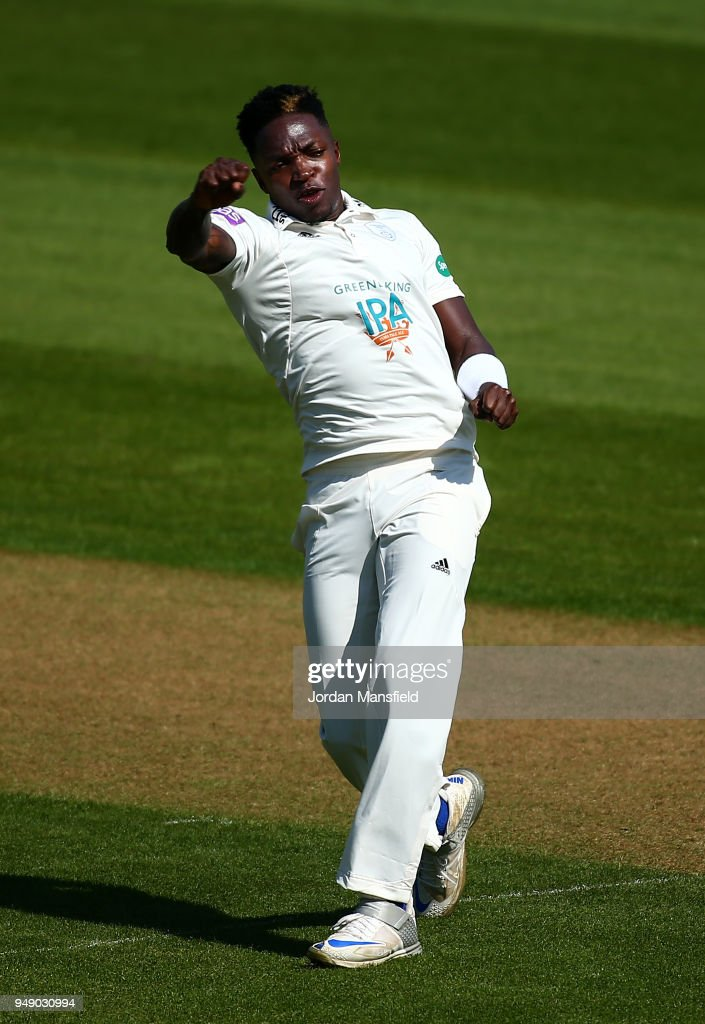 Fidel Edwards of Hampshire celebrates dismissing Mark Stoneman of Surrey during day one of the Division One Specsavers County Championship match between Surrey and Hampshire at The Kia Oval on April 20, 2018 in London, England.