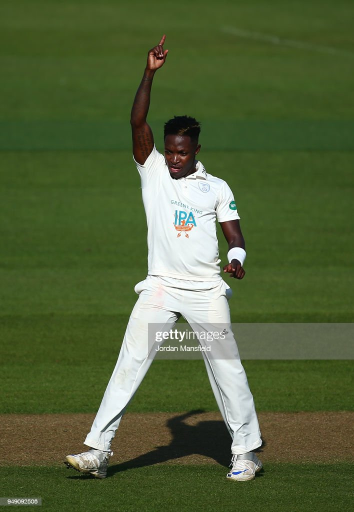 Fidel Edwards of Hampshire celebrates dismissing Ollie Pope of Surrey during day one of the Division One Specsavers County Championship match between Surrey and Hampshire at The Kia Oval on April 20, 2018 in London, England.