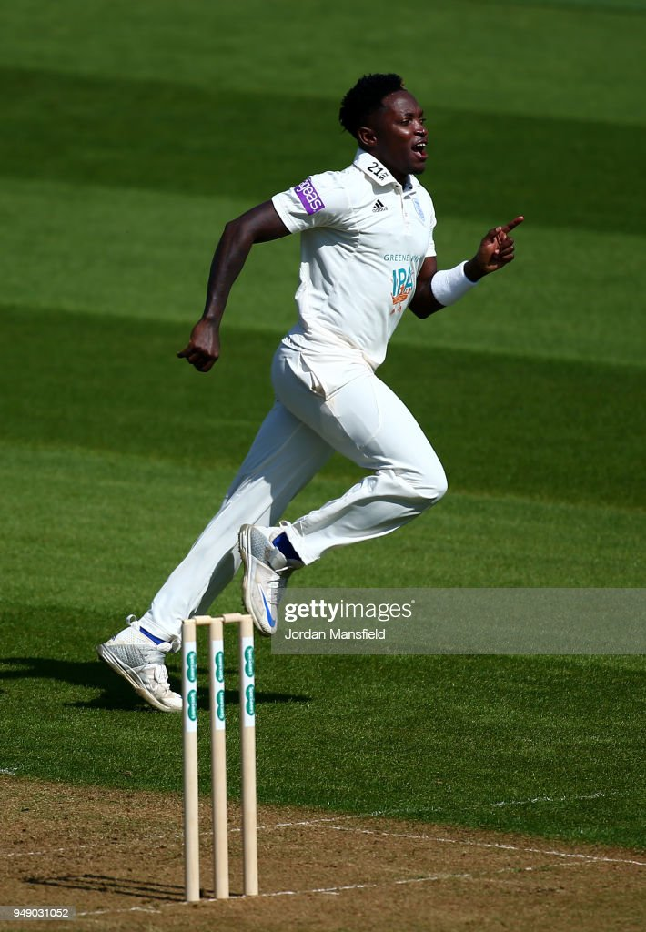 Fidel Edwards of Hampshire celebrates dismissing Scott Borthwick of Surrey during day one of the Division One Specsavers County Championship match between Surrey and Hampshire at The Kia Oval on April 20, 2018 in London, England.