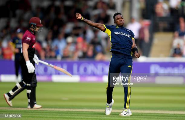 Fidel Edwards of Hampshire celebrates the wicket of Tom Abell of Somerset during the Royal London One Day Cup Final match between Somerset and...