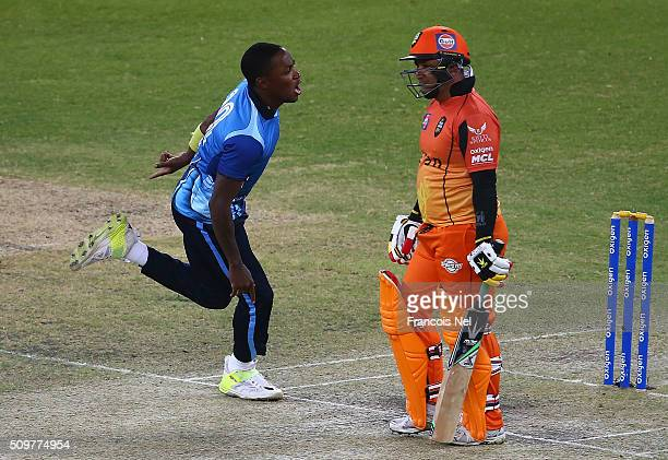 Fidel Edwards of Leo Lions celebrates the wicket of Humayun Farhat of Virgo Super Kings during the Oxigen Masters Champions League Semi Final match...