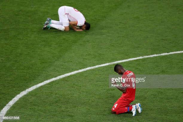 Fidel Escobar of Panama and Rami Bedoui of Tunisia react following the 2018 FIFA World Cup Russia group G match between Panama and Tunisia at...