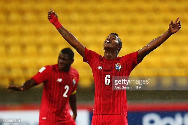 Fidel Escobar of Panama celebrates his team's first goal during the FIFA U20 World Cup New Zealand 2015 Group B match between Austria and Panama at...