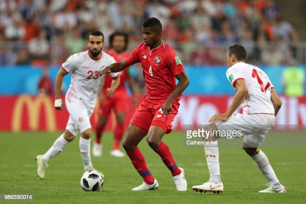 Fidel Escobar of Panama under pressure from Ellyes Skhiri of Tunisia during the 2018 FIFA World Cup Russia group G match between Panama and Tunisia...