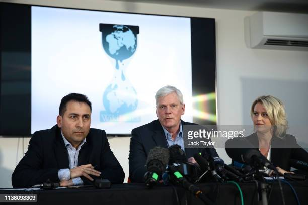 Fidel Narvaez, Former Consul of Ecuador to London, Kristinn Hrafnsson, Editor-in-chief, WikiLeaks and Barrister Jennifer Robinson hold a press...