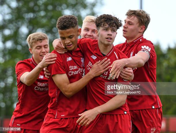 Fidel O'Rourke of Liverpool celebrates his goal with Jack Bearne Luis Longstaff Neco Williams and Paul Glatzel during the U18 Premier League game at...