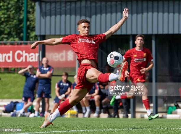 Fidel O'Rourke of Liverpool in action during the U18 Premier League game at The Kirkby Academy on August 17 2019 in Kirkby England