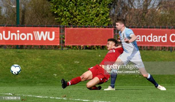 Fidel O'Rourke of Liverpool scores his first and Liverpool's second goal during the U18 Premier League game at The Kirkby Academy on March 2 2019 in...