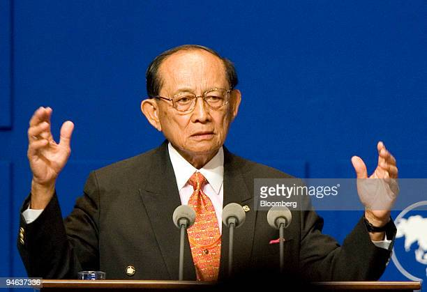 Fidel V Ramos chairman of the board of directors for the Boao Forum for Asia and former president of the Philippines gives a welcoming speech during...