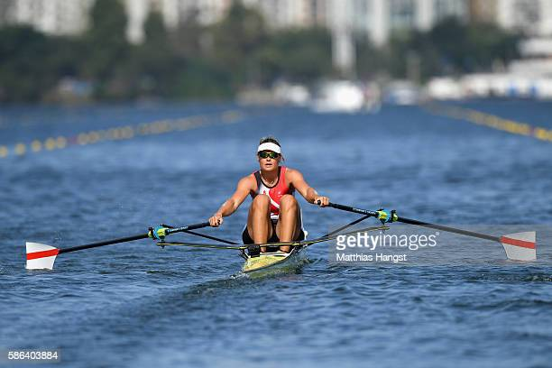 Fie Udby Erichsen of Denmark competes during the Women's Single Sculls Heat 2 on Day 1 of the Rio 2016 Olympic Games at the Lagoa Stadium on August...