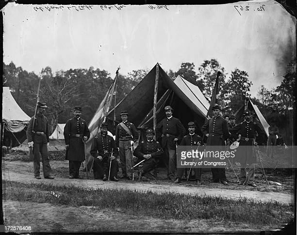 Field and staff officers of the 69th Pennsylvania Infantry a volunteer regiment in the Union army at Gettysburg Pennsylvania during the American...