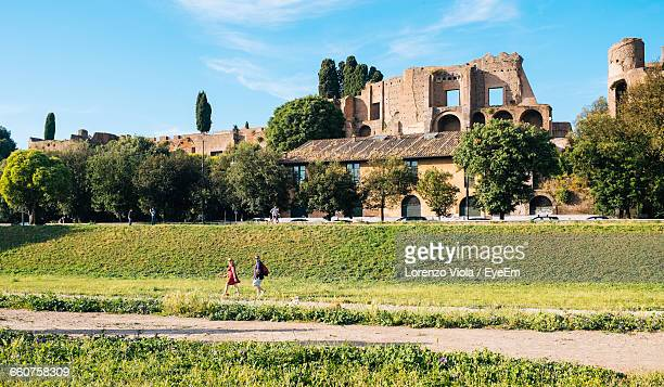 field by old buildings in circus maximus against clear sky - circo massimo foto e immagini stock