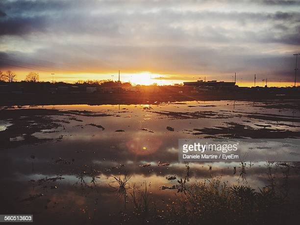 field flooded by rain during sunset - shreveport stock pictures, royalty-free photos & images