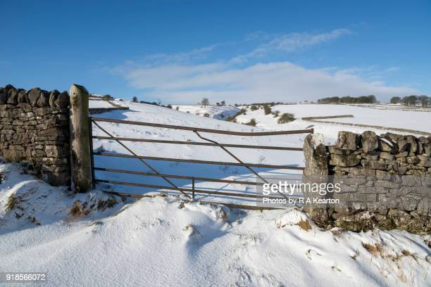 Field gate in the snowy English countryside