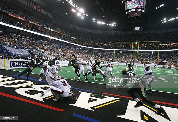 A field goal attempt by Peter Martinez # #6 of the Columbus Destroyers from the hold of Josh Harris is blocked against the San Jose SaberCats during...