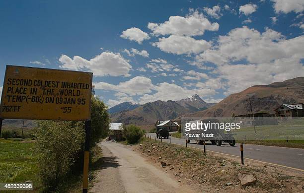 Field gun of Indian army is taken to the forwards posts on July 30 2015 in Drass 142 km east of Srinagar the summer capital of Indian administered...