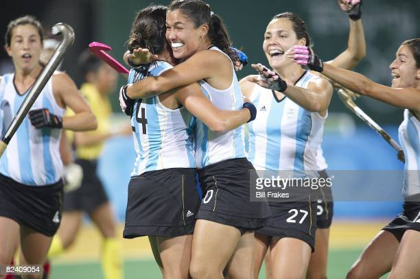 2008 Summer Olympics Team Argentina victorious after scoring goal vs Japan during Women's Pool WB Match W17 at Olympic Green Hockey Stadium Beijing...