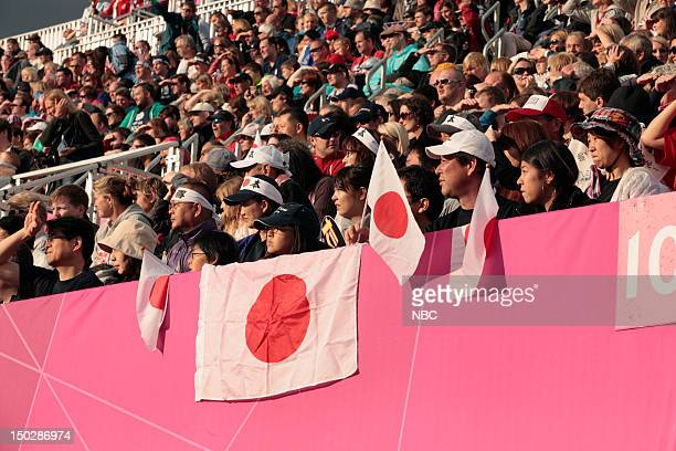 Team Japan supporters during the premilnary round game between Great Britain and Japan during the 2012 Summer Olympics on July 29 2012 in London...