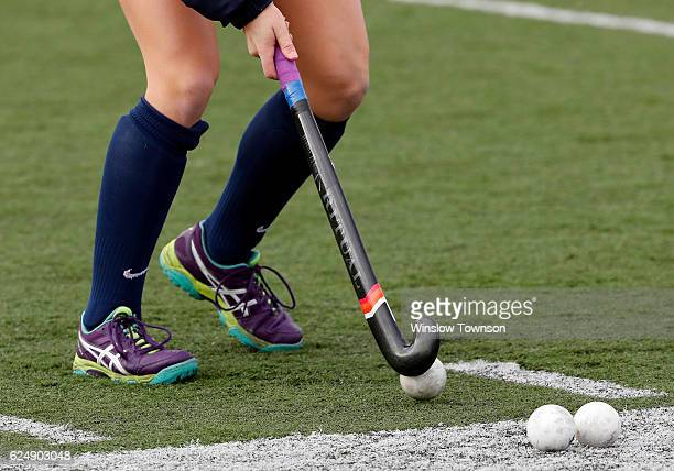 A field hockey player warms up before the game between Shippensburg University and LIU Post in the NCAA Division II Field Hockey Championship at WB...