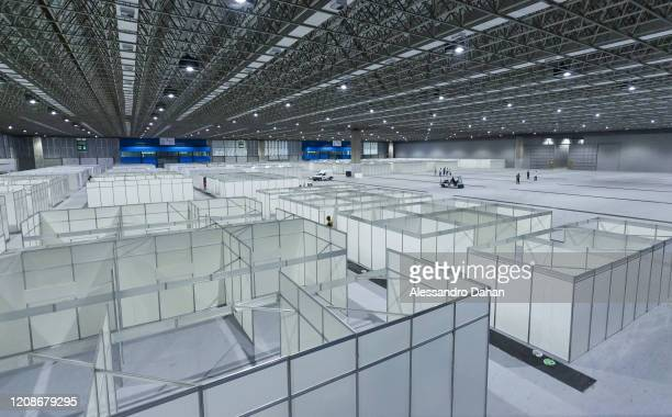 A field hospital is under construction in Riocentro Convention Center on March 30 2020 in Rio de Janeiro Brazil The facility is being set up with 500...
