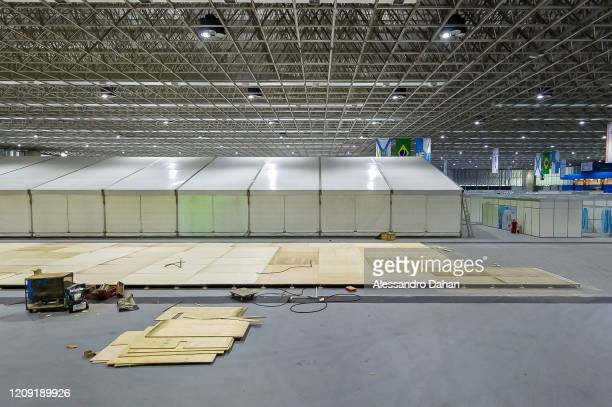 A field hospital is under construction in Riocentro Convention Center on April 05 2020 in Rio de Janeiro Brazil The facility is being set up with 500...