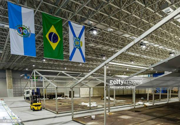 A field hospital is under construction in Riocentro Convention Center on April 03 2020 in Rio de Janeiro Brazil The facility is being set up with 500...